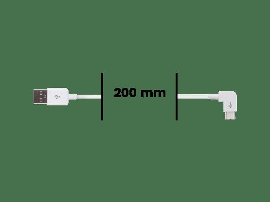 Cable Micro USB Coudé vers USB - Blanc
