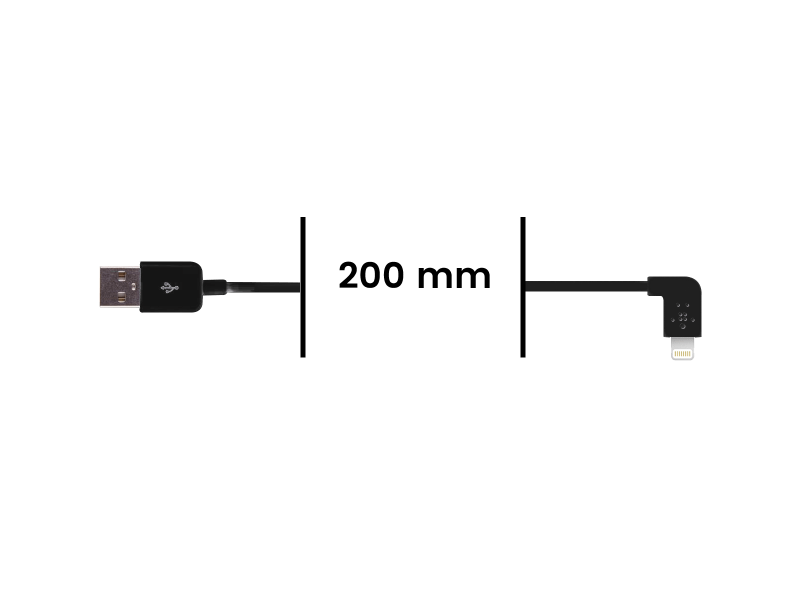 Cable Lightning Coudé vers USB - Noir